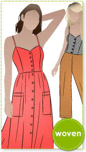 Ariana Woven Dress Sewing Pattern By Style Arc - Pretty sun dress with a fitted shaped bodice and full skirt.