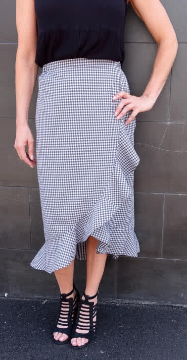 Ariel Wrap Skirt Sewing Pattern By Style Arc - Flounce detail skirt sewing pattern.