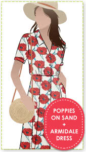 """Armidale Dress + Sand Poppy Woven Fabric Sewing Pattern Fabric Bundle By Style Arc - Button through """"Fit and Flair"""" dress featuring a collar and short sleeves with Poppy woven fabric."""