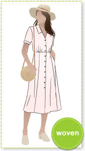 "Armidale Dress By Style Arc - Button through ""Fit and Flair"" dress featuring a collar and short sleeves."