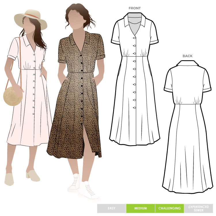 """Armidale Dress By Style Arc - Button through """"Fit and Flair"""" dress featuring a collar and short sleeves."""