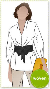 """Ascot Tunic and Belt By Style Arc - This tunic features a """"V"""" neck which is designed to hug the neck. Also featuring a fashionable darted sleeve and dropped shoulder.Belt pattern is included."""