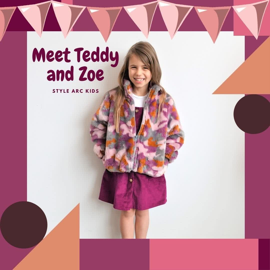 Style Arc's latest release - Unisex Teddy Kids Jacket out now! Available in sizes 1-8 (years) + with the Zoe Kids Pinafore