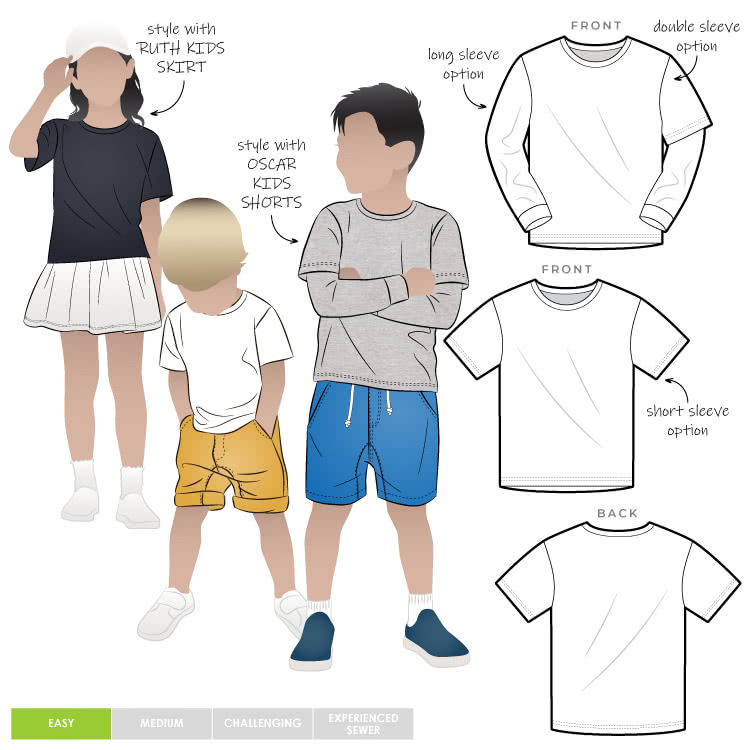 Bailey Kids Top By Style Arc - Kids Tee with 3 sleeve options for kids 2-8