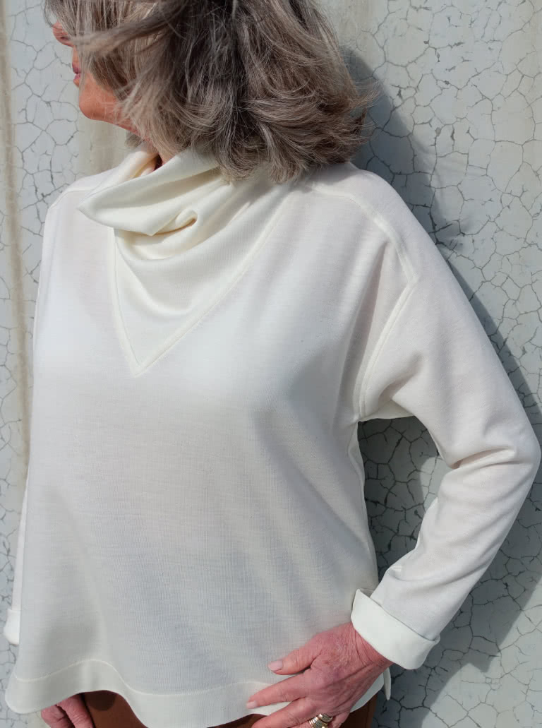 Balmain Knit Tunic By Style Arc - Tunic top featuring a square shaped body and funnel cowl neck.