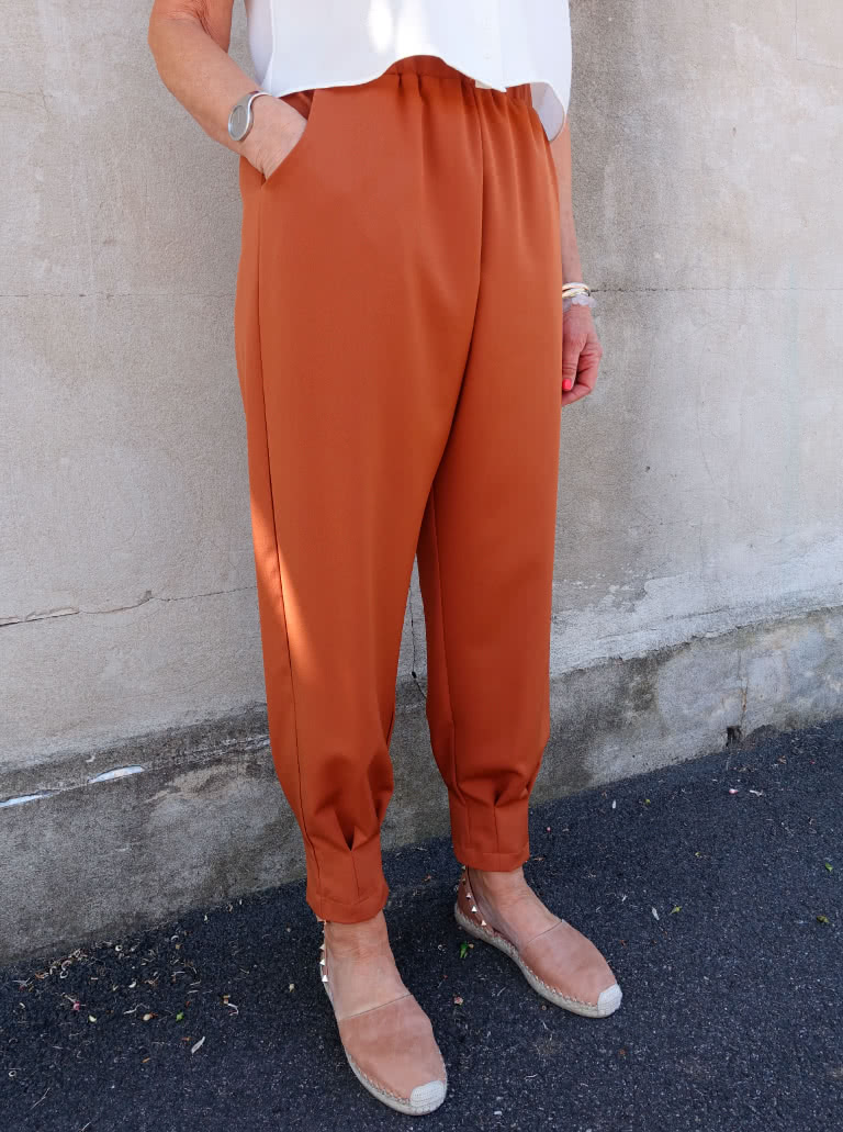 Barbie Jumpsuit and Pant By Style Arc - Slip on jumpsuit with elastic waist, shoulder ruffle and pleated cuffs. Or an elastic waist pant with pleated cuffs.