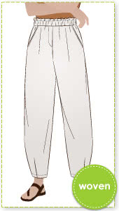Barry Woven Pant By Style Arc - Elastic waisted pant with a slight balloon shaped darted leg.