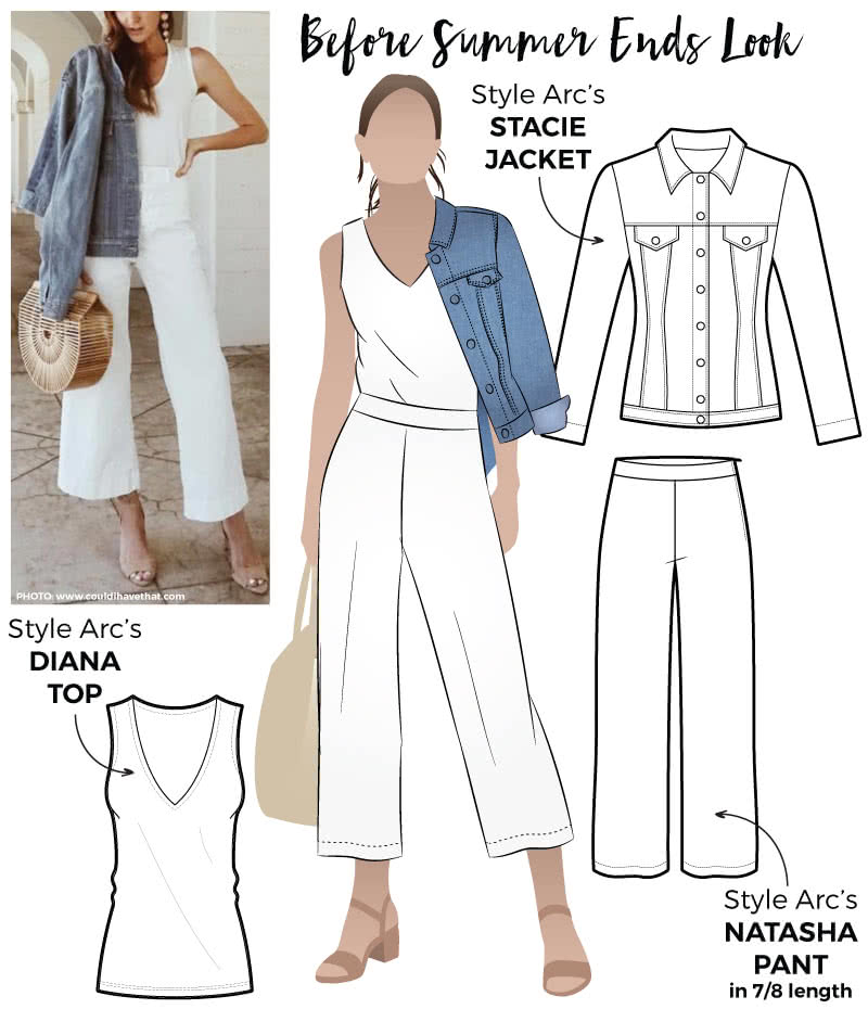 Before Summer Ends Look Sewing Pattern Bundle By Style Arc - As it cools down here in the southern hemisphere or before it heats up over in the Northern Hemisphere this discount bundle has you covered! Featuring our Diana Top, Natasha Pant and Stacie Jean Jacket.