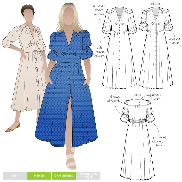 """Belle Woven Dress By Style Arc - Make a statement with the new Belle Woven Dress. """"V"""" neck, button through dress with shirred sleeves and back bodice."""