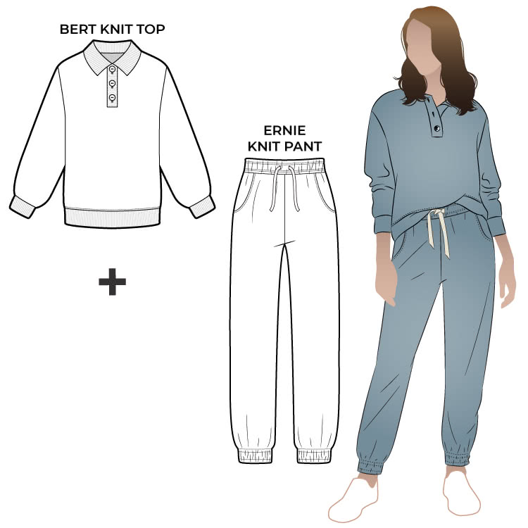 Bert Knit Top + Ernie Knit Pant Bundle By Style Arc - In our new discount pattern bundle you receive two essential leisurewear styles, the Bert Knit Top and Ernie Knit Pant.