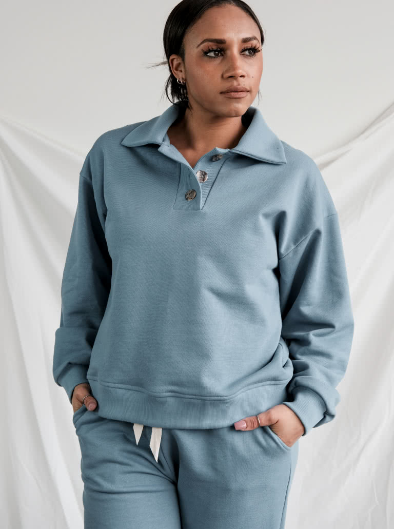 Bert Knit Top By Style Arc - Boost your weekend dressing with this new style windcheater. Stylish button front polo collar elevates this comfy easy fit style featuring drop shoulder line, deep armhole and slight balloon sleeve.