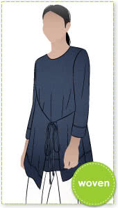 Bessie Woven Tunic By Style Arc - Woven long line top featuring a fashionable tied front over lay and 7/8th length sleeves.