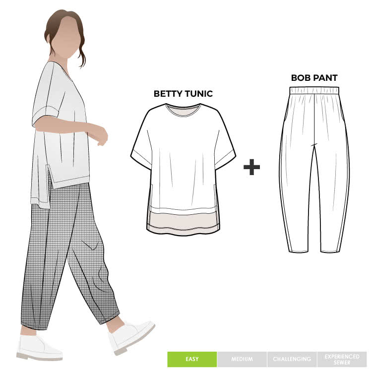Betty And Bob Sewing Pattern Bundle By Style Arc - This is a balloon shaped pant with an elastic waistband and in seam pockets, paired with a square shaped tunic with a floaty back, extended shoulder line and side splits