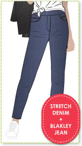 Blakley Stretch Jeans + Stretch Denim Fabric Sewing Pattern Fabric Bundle By Style Arc