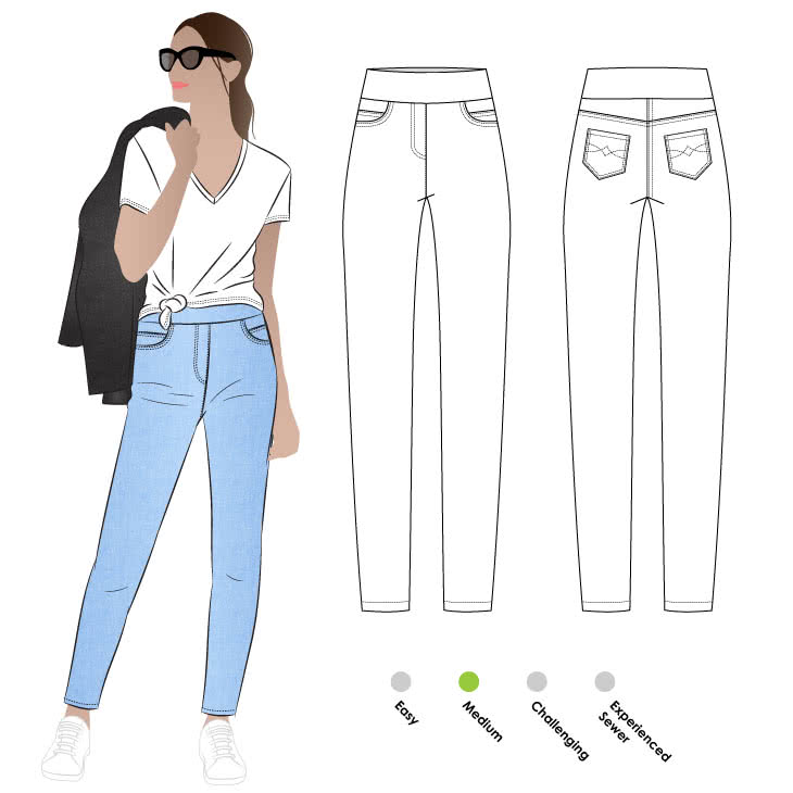 Blakley Stretch Jeans Sewing Pattern By Style Arc - Pull-on stretch jean with all the regular jean features.