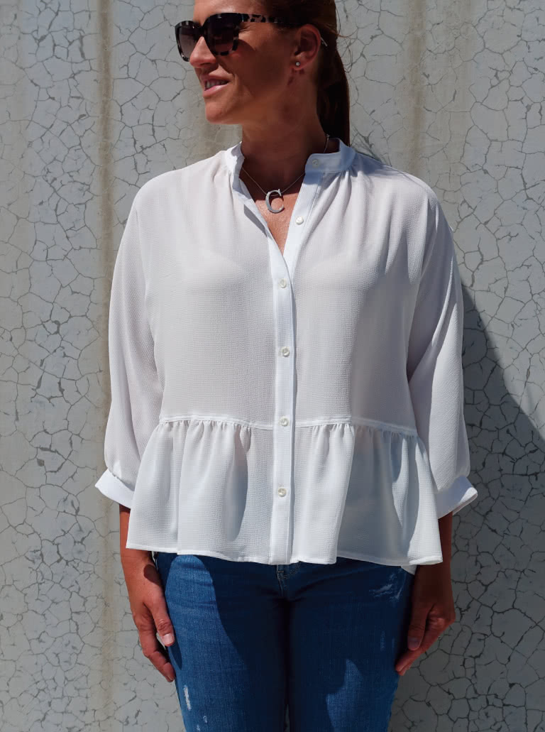 Blossom Woven Top By Style Arc - Square-shaped button-through top sewing pattern featuring a dolman sleeve and gathered peplum