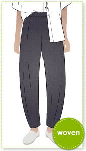 Bob Woven Pant By Style Arc - This is a balloon shaped pant with an elastic waistband and in seam pockets.