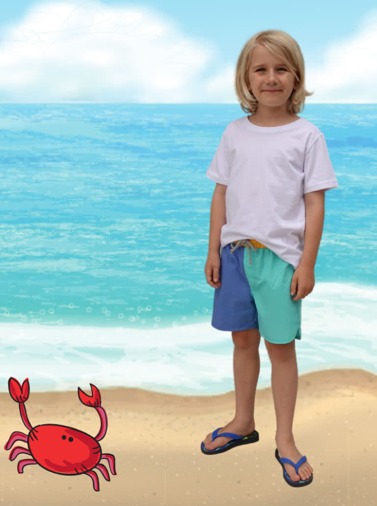 Bondi Kids Boardie By Style Arc - Elastic waist short with faux fly and cord ties.