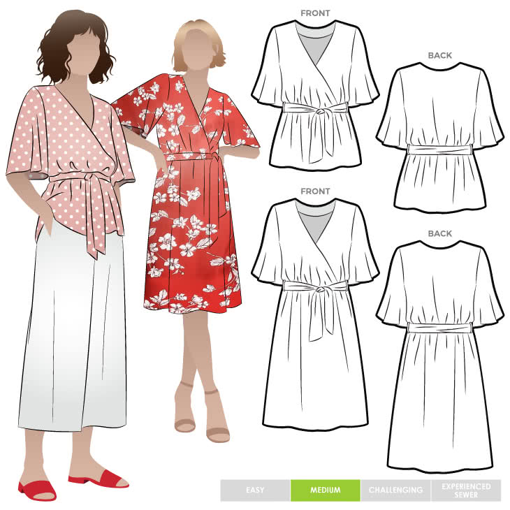 Bonita Dress Or Top By Style Arc - Dress or top sewing pattern with crossover bodice, elastic waist and elbow-length sleeves