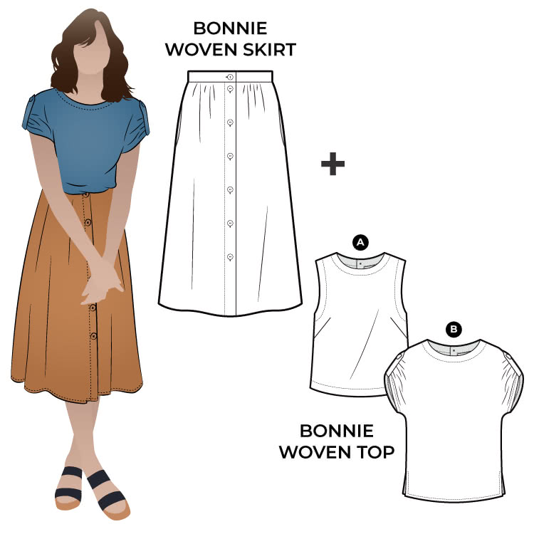 Bonnie Sewing Pattern Bundle By Style Arc - Two top options in the one pattern. 1: Sleeveless swing shape top with a cropped length. 2: A square shaped drop shoulder and longer length top. Both tops feature a round neck and functional back opening. Classic dirndl skirt with a curved front waistband and elastic back for comfort.
