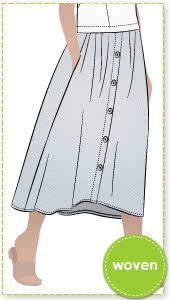 Bonnie Woven Skirt By Style Arc - Classic dirndl skirt with a curved front waistband and elastic back for comfort.