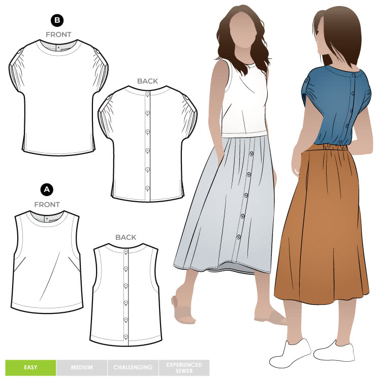 Bonnie Woven Tops By Style Arc - Two top options in the one pattern. 1 - Sleeveless swing shape top with a cropped length. 2 - A square shaped drop shoulder and longer length top. Both tops feature a round neck and functional back opening.
