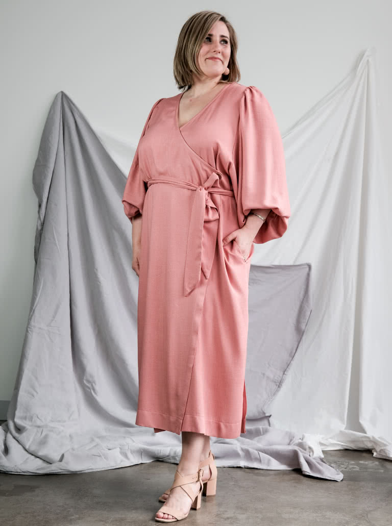 Brigid Wrap Dress By Style Arc - Wrap dress featuring a full sleeve and tie belt.