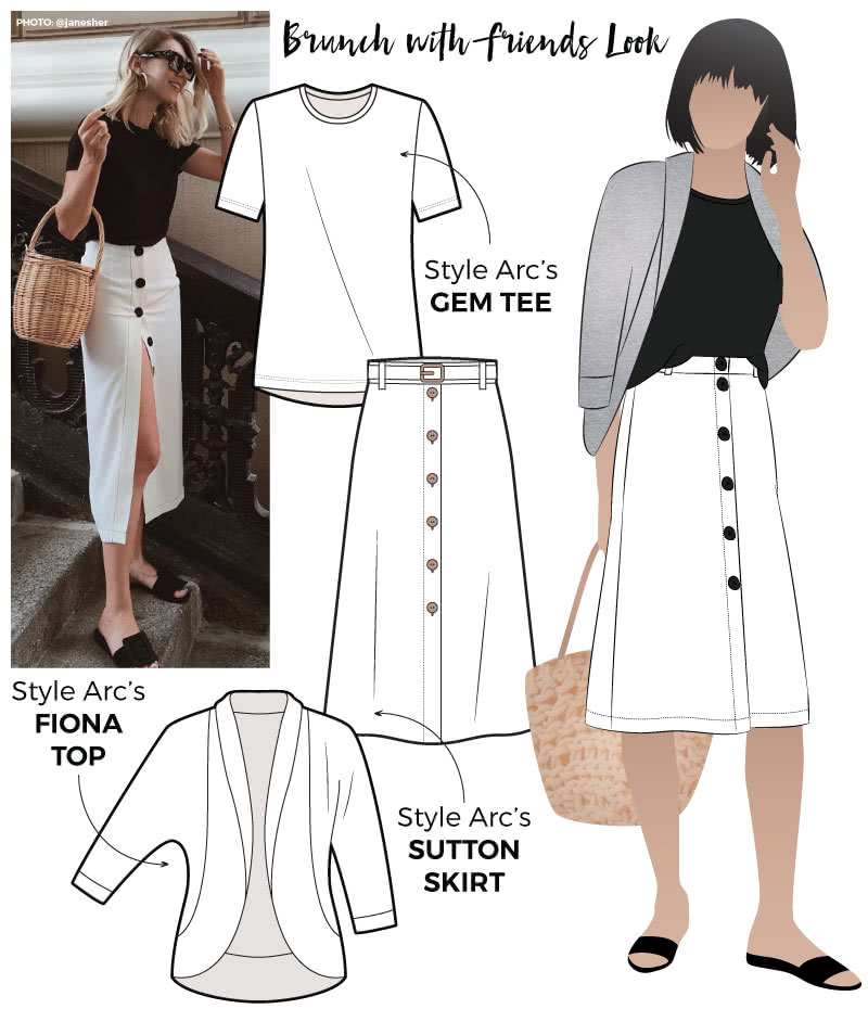 Brunch With Friends Look Sewing Pattern Bundle By Style Arc - Discounted Get the Look pattern bundle for a classic T-shirt, a mid-length A-line skirt and a dolman sleeve knit cardigan pattern.