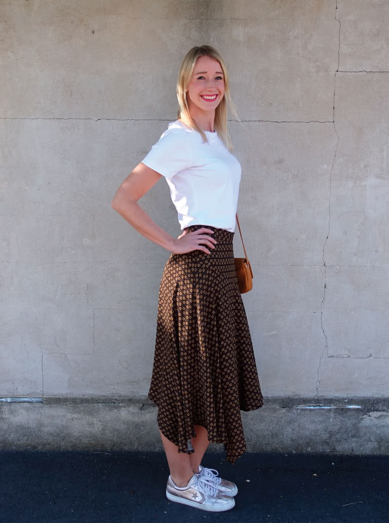 Canterbury Skirt By Style Arc - Feminine asymmetrical skirt featuring a waistband, angled yoke and side zip.