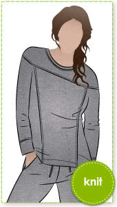 Carlsson Sweater Sewing Pattern By Style Arc - Square shaped windcheater with shaped yoke and design lines.