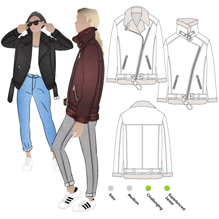 Carly Aviator Jacket Sewing Pattern By Style Arc - Iconic aviator jacket.