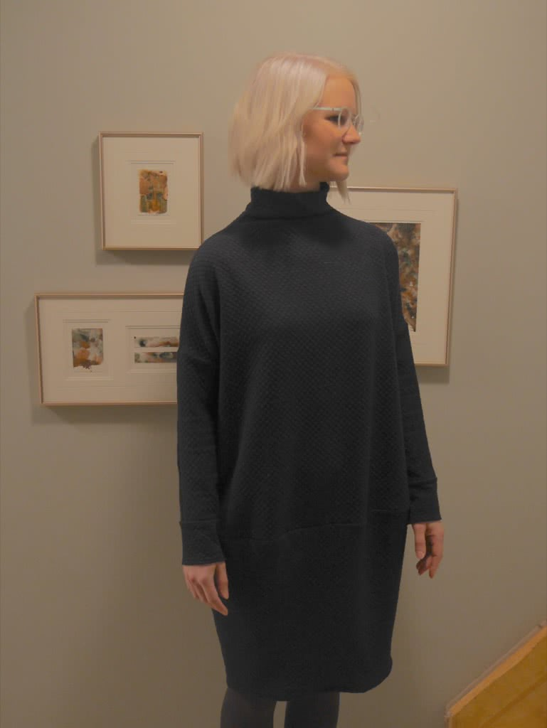 Cher Knit Dress Sewing Pattern By Monica And Style Arc - Funnel neck cocoon shaped dress