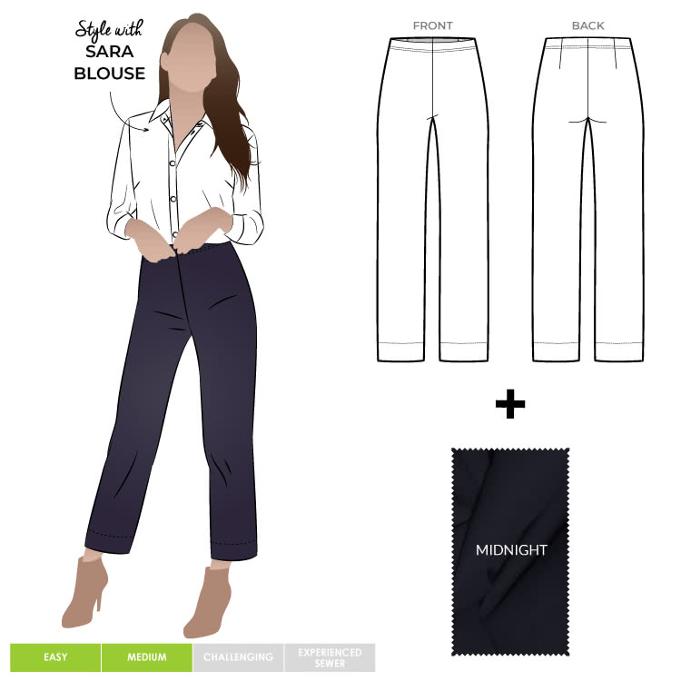 Cheryl Stretch Woven Pant & Midnight Bengaline Fabric Sewing Pattern Fabric Bundle By Style Arc