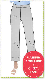 Cheryl Stretch Woven Pant & Platinum Bengaline Fabric Sewing Pattern Fabric Bundle By Style Arc