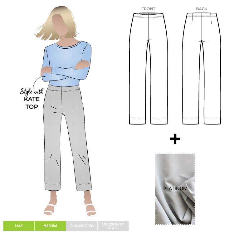 Cheryl Stretch Woven Pant & Platinum Bengaline Fabric Sewing Pattern Fabric Bundle By Style Arc