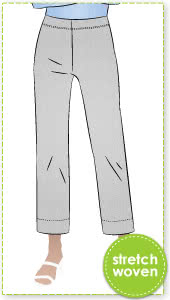 Cheryl Stretch Woven Pant By Style Arc - Pull on stretch woven pant featuring a straight 7/8th length leg