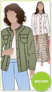 Cindy Jeans Jacket Sewing Pattern By Style Arc - Fabulous slightly fitted stretch jeans jacket