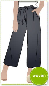 Clare Pant By Style Arc - This elastic waist, wide leg pant features a fashionable 7/8th leg length, pockets and tie belt.