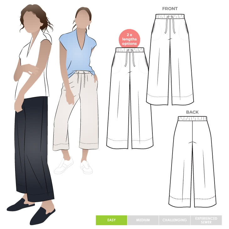 Como Knit Pant Sewing Pattern By Style Arc - Wide leg knit pant sewing pattern featuring an elastic waist and in-seam pockets