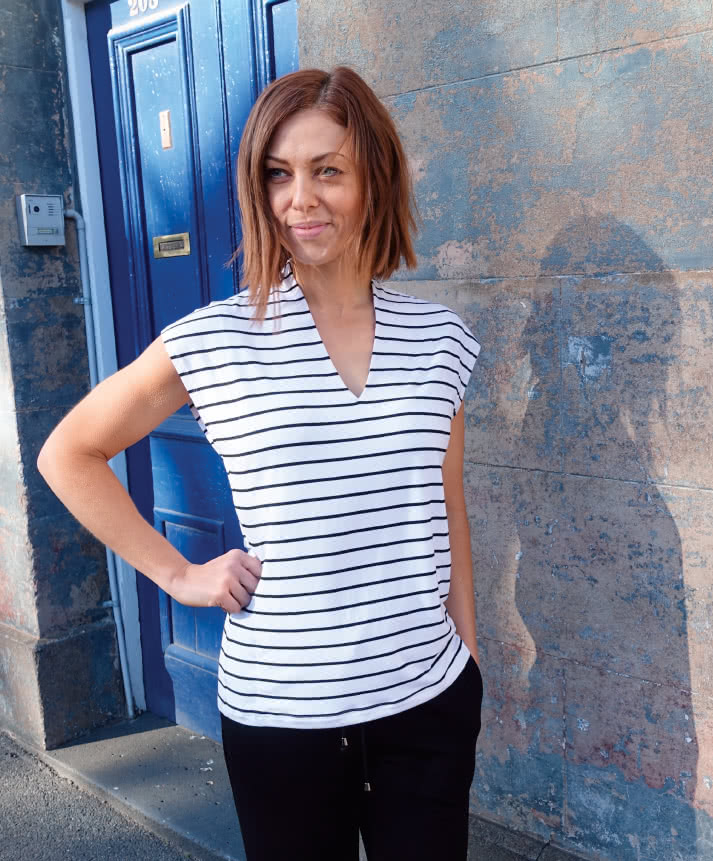 """Como Knit Top Sewing Pattern By Style Arc - Fabulous knit top sewing pattern with dropped shoulders and """"V"""" neckline which hugs the back neck."""