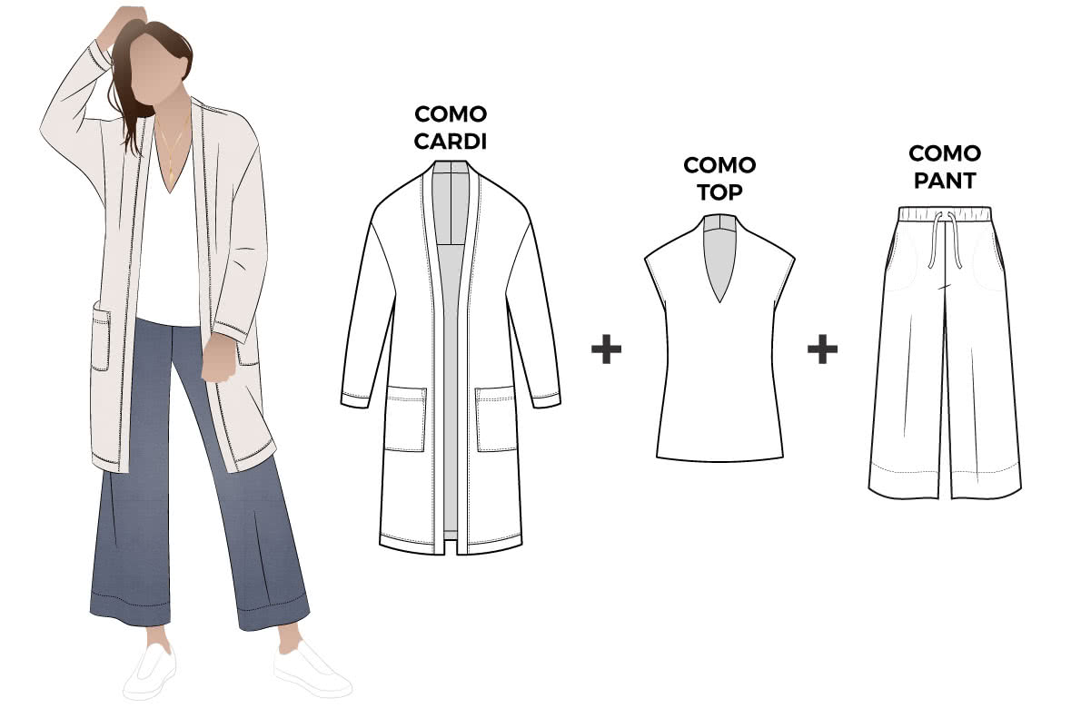 Como Outfit Bundle Sewing Pattern Bundle By Style Arc - Discounted bundle of three sewing patterns to great a fabulous look. You get patterns for a long line cardigan, knit pant and knit top.