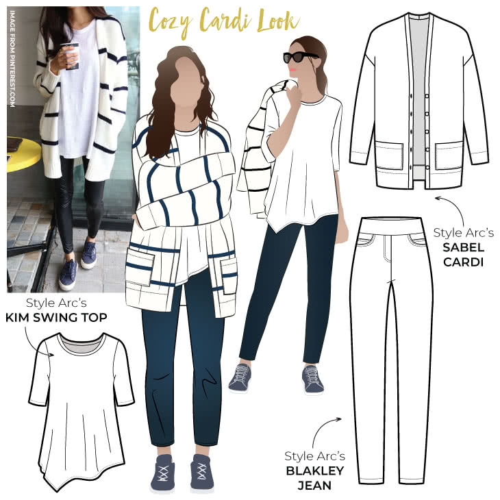 Cozy Cardi Look Sewing Pattern Bundle By Style Arc - Our latest discount pattern bundle is the quintessential cozy outfit whether you are lounging at home or grabbing coffee with friends.
