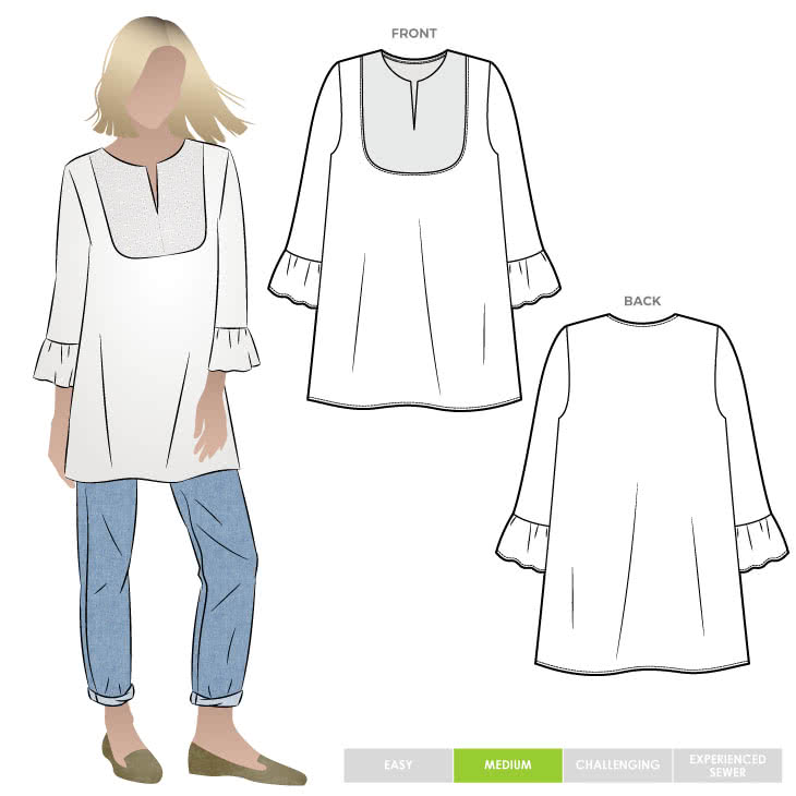 Culliver Woven Tunic By Style Arc - Tunic shape featuring a rounded yoke and ruffled sleeve.
