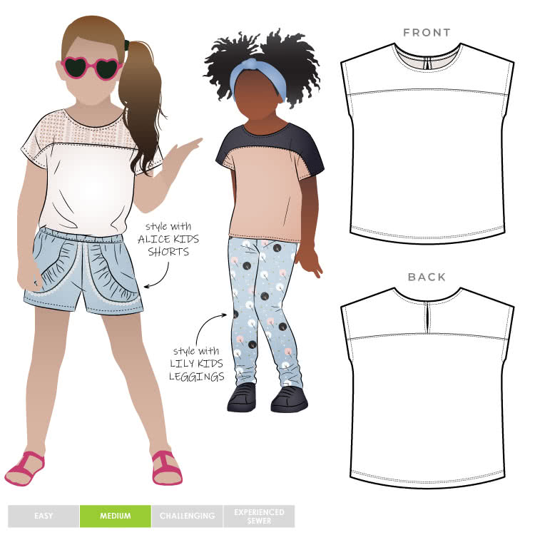 Daisy Kids Top By Style Arc - Square shape knit top featuring yokes and extended shoulders, for kids 2-8