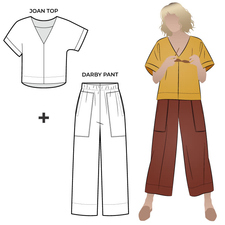 "Darby And Joan Sewing Pattern Bundle By Style Arc - Square shaped top with extended shoulder line and ""V"" neck teamed with a 7/8th length wide leg pant with elastic waist and patch pockets."