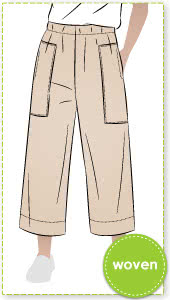 Darby Woven Pant By Style Arc - 7/8th length wide leg pant with elastic waist and patch pockets.