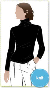 Debra Zebra Knit Top Sewing Pattern By Style Arc - Funnel neck skivvy featuring a slightly fitted body and long sleeves.