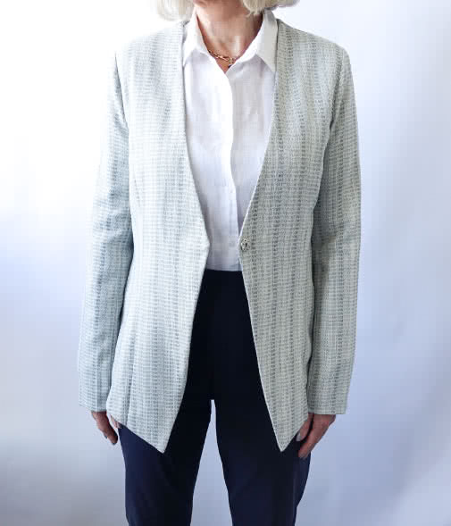Dorothy Woven Jacket Sewing Pattern By Style Arc - Unlined fitted jacket with asymmetrical front hemline and two-piece sleeve.