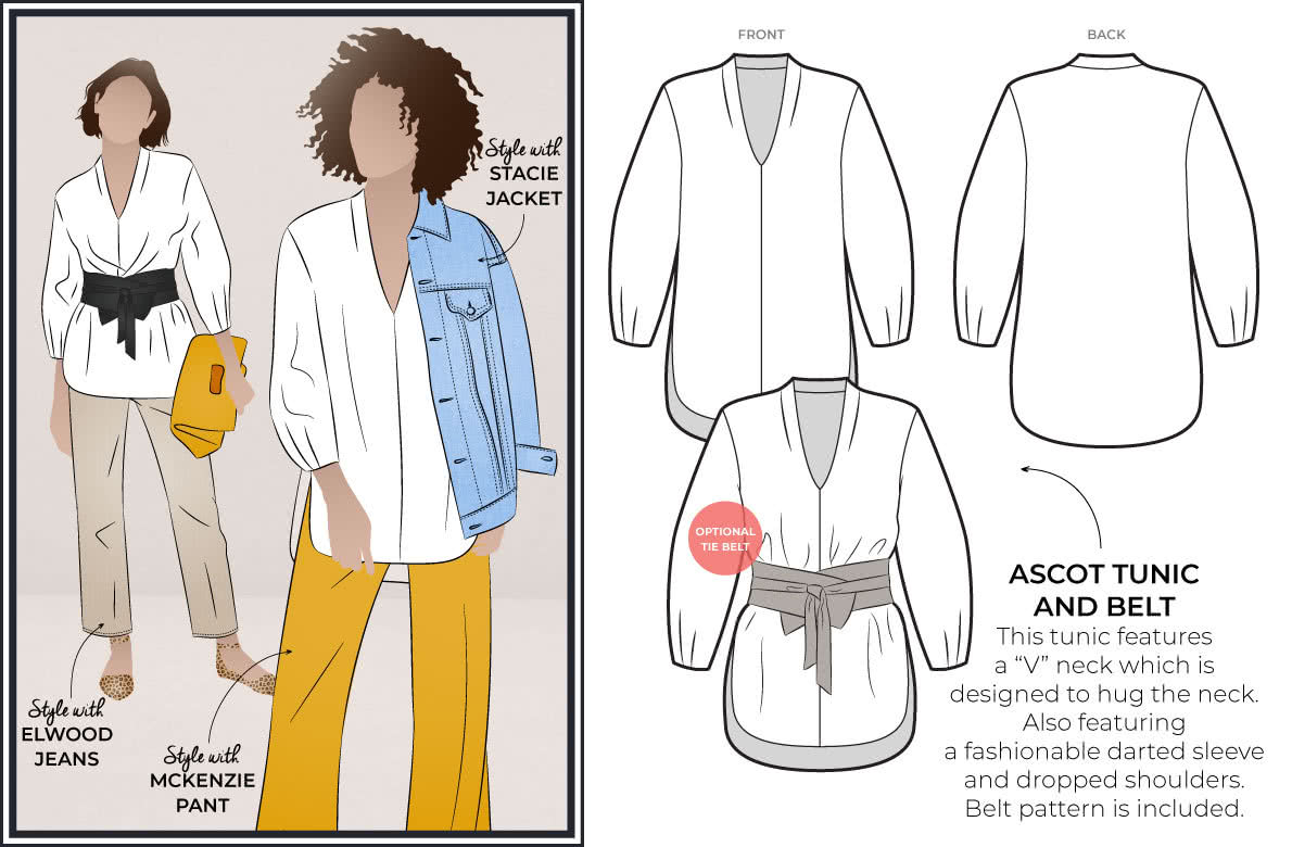 Style Arc's October 2019 Freebie - Ascot Tunic & Belt Pattern
