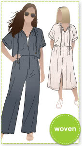 Eadie Woven Jumpsuit Dress By Style Arc - Combination jumpsuit and dress pattern featuring an extended shoulder line, front opening and elastic waist